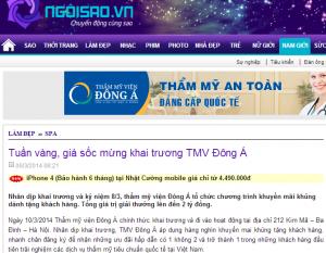 TMV Đông Á xuất hiện trên ngoisao.vn